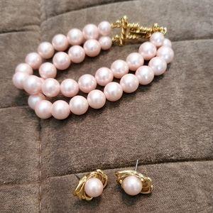 Set Bracelet Earrings Monet pink faux pearl